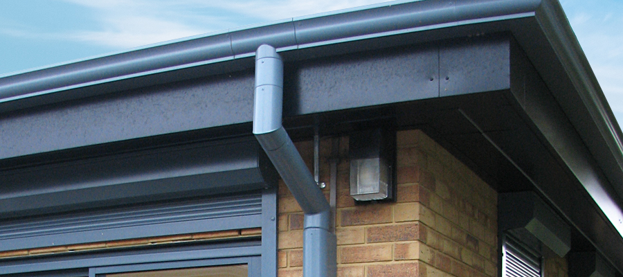 Aluminium high security anti vandal and anti climb downpipe fitted to moulded ogee guttering