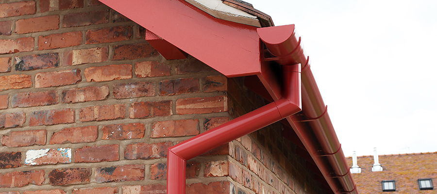 aluminium smoothline flush fit joint downpipes fitted to garston barns