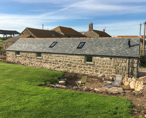 aluminium victorian ogee guttering fitted to the piggery, Trengothal Barn