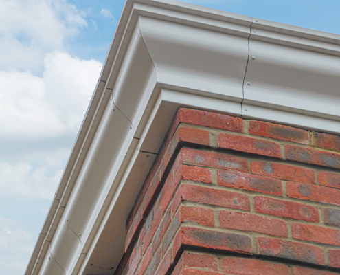 Bespoke aluminium guttering with external angle, Downs Edge
