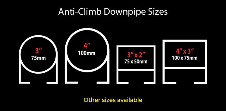 guttercrest anti climb downpipe sizes aluminium