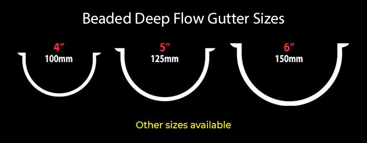 guttercrest beaded deep flow gutter sizes aluminium