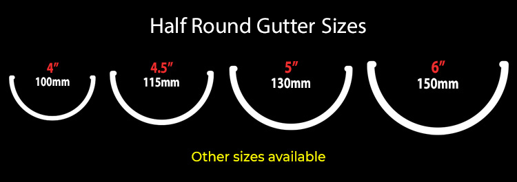 guttercrest half round gutter sizes aluminium