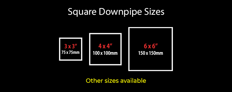 guttercrest square downpipe sizes aluminium